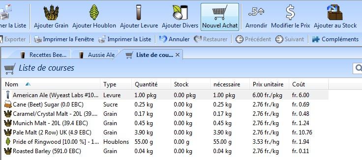 Beersmith3 Aide Liste De Courses Le Wiki Du Brassage Amateur